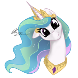 Size: 512x512 | Tagged: artist:hilloty, bust, commission, crown, cute, cutelestia, floppy ears, gold, jewelry, looking at you, peytral, pony, portrait, princess, princess celestia, regalia, safe, signature, simple background, smiling, solo, sticker, transparent background
