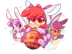Size: 1600x1200 | Tagged: safe, artist:colorfulcolor233, apple bloom, scootaloo, sweetie belle, earth pony, pegasus, pony, unicorn, abstract background, adorabloom, animal costume, bunny belle, bunny bloom, bunny costume, bunnyloo, clothes, costume, cute, cutealoo, cutie mark crusaders, daaaaaaaaaaaw, diasweetes, easter, easter egg, eye clipping through hair, female, filly, heart, hnnng, holiday, open mouth, scootaloo is not amused, signature, smiling, trio, unamused