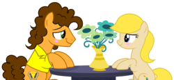 Size: 7056x3288 | Tagged: absurd res, artist:diamond-chiva, blushing, canon x oc, cheese sandwich, earth pony, female, flower, male, mare, oc, oc:peacock studios, pony, safe, simple background, straight, transparent background