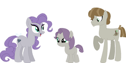 Size: 985x496 | Tagged: alternate hairstyle, artist:harmonyguard, base used, family, female, male, maudalina daisy pie, maudbriar, maudie pie, maud pie, mudbriar, oc, oc:gem mud, offspring, parent:maud pie, parent:mud briar, parents:maudbriar, pony, safe, shipping, straight, wrong cutie mark