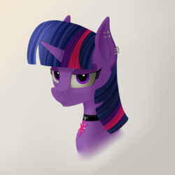 Size: 2200x2200 | Tagged: choker, ear piercing, female, mare, piercing, pony, safe, solo, twilight sparkle