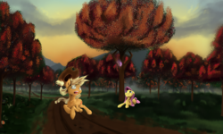 Size: 3544x2123 | Tagged: applejack, artist:skyresonance, fluttershy, pony, prone, running, safe, tree