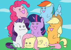 Size: 1200x849 | Tagged: safe, artist:iroenpitu_nico, applejack, fluttershy, pinkie pie, rainbow dash, rarity, twilight sparkle, unicorn, chibi, cute, mane six, mane six opening poses, one eye closed, open mouth, pixiv, prone, unicorn twilight, wink
