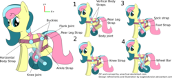 Size: 2433x1103 | Tagged: safe, artist:eagle1division, oc, oc only, oc:knitwise, pony, awesome in hindsight, harness, hilarious in hindsight, simple background, tack, transparent background, wheel, wheelchair