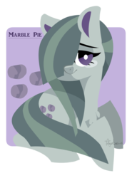 Size: 800x1084 | Tagged: artist:snow angel, chest fluff, cute, cutie mark, earth pony, female, marblebetes, marble pie, mare, pony, prone, safe, solo, white pupils
