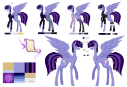 Size: 7937x5385 | Tagged: alicorn, alicorn oc, artist:moonlight0shadow0, black socks, boots, chest fluff, clothes, crown, ear piercing, earring, glasses, hoodie, horn ring, icey-verse, jeans, jewelry, male, next generation, oc, oc:hesitant enchantment, oc only, offspring, pants, parent:flash sentry, parents:flashlight, parent:twilight sparkle, piercing, pony, raised hoof, reference sheet, regalia, safe, scarf, shirt, shoes, simple background, socks, solo, spread wings, stallion, stockings, striped socks, suit, sweater, tattoo, thigh highs, transparent background, t-shirt, turtleneck, wings