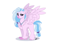 Size: 1280x960 | Tagged: artist:evergreen-gemdust, chest fluff, classical hippogriff, cute, diastreamies, ear fluff, hippogriff, safe, signature, silverstream, simple background, solo, transparent background