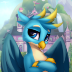 Size: 3000x3000 | Tagged: arms folded, artist:setharu, bust, cheek fluff, crossed arms, cute, gallabetes, gallus, griffon, looking at you, male, safe, school of friendship, solo, wing fluff
