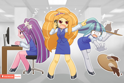 Size: 1500x1000 | Tagged: adagio dazzle, adoragio, ariabetes, aria blaze, artist:howxu, clothes, coffee, computer, cute, equestria girls, female, high heels, keyboard, office, patreon, patreon logo, profile, safe, shoes, skirt, skirt suit, sonatabetes, sonata dusk, spill, suit, sweat, the dazzlings, tray