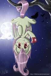 Size: 735x1087   Tagged: safe, artist:lillyflover, fluttershy, bat, bat pony, :t, apple, bat ponified, cloud, cute, female, flutterbat, food, full moon, hanging, herbivore, looking at you, moon, munching, night, prehensile tail, race swap, shyabates, shyabetes, solo, stars, tree, tree branch, upside down