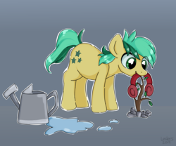 Size: 2400x2000 | Tagged: artist:leslers, cute, earmuffs, eye clipping through hair, gray background, mouth hold, plant, pony, safe, sandabetes, sandbar, sapling, simple background, solo, spoiler:s09e03, uprooted, watering can
