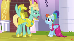 Size: 1914x1069   Tagged: safe, screencap, rainbow dash, zephyr breeze, pony, sparkle's seven, armor, clothes, dress, female, male, megaradash, rainbow dash always dresses in style, royal guard armor, royal guard zephyr breeze