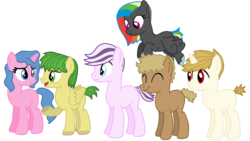 Size: 1024x576 | Tagged: artist:dexterousdecarius, base used, blank flank, oc, oc:airizona apple, oc:airy, oc:amaryllis, oc:anthurium amaryllis, oc:cheerio, oc:cheerio cheers, oc only, oc:periwinkle prose, oc:prose, oc:spectrum storm, oc:strawberry sundae, offspring, parent:applejack, parent:bulk biceps, parent:cheese sandwich, parent:fluttershy, parent:pinkie pie, parent:pokey pierce, parent:rainbow dash, parents:cheesepie, parents:diamondlight, parents:flutterbulk, parent:soarin', parents:pokeypie, parents:soarinjack, parents:thunderdash, parent:thunderlane, pony, safe, simple background, transparent background