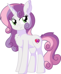 Size: 6039x7378 | Tagged: safe, artist:aureai-sketches, artist:cyanlightning, sweetie belle, pony, unicorn, .svg available, absurd resolution, aside glance, chest fluff, cute, diasweetes, ear fluff, eyeshadow, female, lidded eyes, looking back, makeup, mare, older, older sweetie belle, simple background, smiling, solo, tail fluff, transparent background, vector