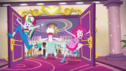 Size: 1920x1080   Tagged: safe, screencap, doodle bug, garden grove, guy grove, ink jet, pinkie pie, puffed pastry, rainbow dash, equestria girls, equestria girls series, spring breakdown, spoiler:eqg series (season 2), angry, background human, baseball cap, buffet, cap, carpet, chef, chef's hat, clothes, door, doors, dress, feet, female, geode of super speed, hat, kicked out, magical geodes, pushing, sandals, sleeveless