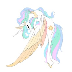 Size: 2428x2430 | Tagged: safe, artist:tiffna0310, princess celestia, alicorn, pony, colored wings, eyes closed, female, mare, multicolored wings, simple background, solo, spread wings, unshorn fetlocks, white background, wings