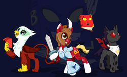 Size: 11130x6749 | Tagged: safe, artist:chedx, oc, oc:ophelia, changeling, crystal pony, earth pony, griffon, pony, tails of equestria, adventure, bea, board game, book, dea, roleplaying
