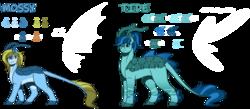 Size: 1280x558 | Tagged: safe, artist:sketchthebluepegasus, oc, oc:mossy, oc:tide, grottoling, original species, skimmer, black sclera, female, male, reference sheet, simple background, transparent background
