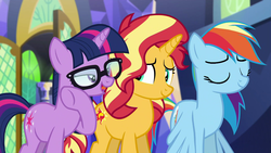 Size: 1920x1080 | Tagged: safe, screencap, rainbow dash, sci-twi, sunset shimmer, twilight sparkle, pony, unicorn, equestria girls, equestria girls series, spring breakdown, spoiler:eqg series (season 2), equestria girls ponified, glasses, ponified, twilight's castle, unicorn sci-twi, whispering