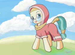 Size: 1900x1400 | Tagged: artist:tehwatever, background pony, clip studio paint, clothes, cloud, desert flower, digital art, earth pony, female, glasses, headscarf, hijab, hood, mare, meganekko, pony, safe, scarf, shadow, signature, skullcap, sky, smiling, solo, somnambula resident, tail wrap