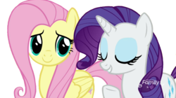 Size: 800x447 | Tagged: safe, editor:ilove-mlp18, screencap, fluttershy, rarity, pony, background removed, discovery family logo, duo, female, simple background, transparent background