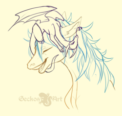 Size: 915x874 | Tagged: artist:geckosart, blue mane, dragon, dungeons and dragons, earth pony, female, male, mare, oc, oc only, pathfinder, pen and paper rpg, pony, ponyfinder, pseudodragon, rpg, safe, signature, simple background, sketch, smiling, yellow fur