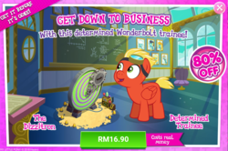 Size: 1036x686 | Tagged: safe, short fuse, pegasus, pony, advertisement, colt, costs real money, dizzitron, fuseabetes, gameloft, goggles, male, official, red, sale, smiling, stallion, when he smiles