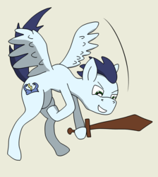 Size: 1182x1319   Tagged: safe, artist:greeneyedmistress, soarin', pegasus, pony, backwards cutie mark, colt, flying, male, solo, toy, toy sword, younger