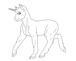 Size: 1000x800 | Tagged: safe, artist:guidomista, artist:miiistaaa, artist:nijimillions, pony, unicorn, base, cloven hooves, eyelashes, free to use, gender neutral, hooves, horn, lineart, looking back, monochrome, muscles, realistic, realistic anatomy, realistic horse legs, smiling, solo, standing, transparent, trotting, unicorn master race, walking