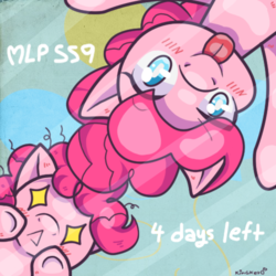 Size: 500x500 | Tagged: safe, artist:kingkero, pinkie pie, pony, season 9, :p, blushing, countdown, duality, eye clipping through hair, eyebrows visible through hair, female, filly, filly pinkie pie, hype, season 9 countdown, self ponidox, silly, tongue out, wingding eyes, younger