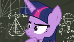 Size: 1280x720 | Tagged: alicorn, chalkboard, math, math lady meme, meme, pony, safe, screencap, solo, sparkle's seven, spoiler:s09e04, twilight sparkle, twilight sparkle (alicorn)
