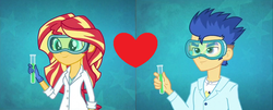 Size: 854x346 | Tagged: safe, flash sentry, sunset shimmer, acadeca, equestria girls, friendship games, female, flashimmer, male, shipping, shipping domino, straight