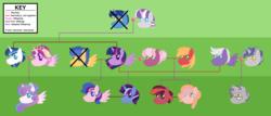 Size: 4848x2072 | Tagged: safe, artist:andy-hazards, artist:kindheart525, big macintosh, cheerilee, flash sentry, night light, princess cadance, princess flurry heart, shining armor, silver script, star bright, twilight sparkle, twilight velvet, oc, oc:discovery, oc:dusk star, oc:galaxy guard, oc:gilded prose, oc:honeycrisp, alicorn, pony, kindverse, alternate hairstyle, beard, cheerilight, facial hair, family tree, female, gay, glasses, lesbian, magical gay spawn, male, offspring, older, older flurry heart, parent:big macintosh, parent:cheerilee, parent:flash sentry, parent:silver script, parent:star bright, parent:twilight sparkle, parents:cheerimac, parents:flashlight, parents:twiscript, shiningcadance, shipping, straight, twilight sparkle (alicorn)