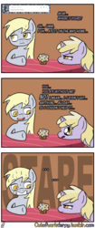 Size: 1280x3056 | Tagged: artist:outofworkderpy, comic, comic:out of work derpy, derpy hooves, dinky hooves, duo, duo female, female, filly, food, mare, mother and daughter, muffin, outofworkderpy, pegasus, pony, safe, sweat, table, tumblr, tumblr comic, unicorn, worried