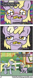 Size: 1280x3024 | Tagged: artist:outofworkderpy, bits, comic, comic:out of work derpy, derpy hooves, dinky hooves, duo, duo female, female, filly, gritted teeth, mare, mother and daughter, outofworkderpy, pegasus, pony, safe, sweat, sweatdrop, tumblr, tumblr comic, unicorn