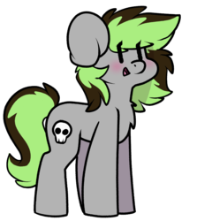 Size: 1151x1288 | Tagged: artist:spoopygander, blushing, chest fluff, chibi, cute, cutie mark, female, happy, mare, multicolored hair, oc, oc:elli, pony, safe, skull, smiling, solo