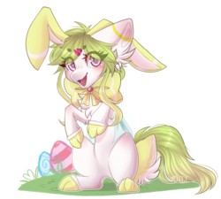 Size: 1280x1152 | Tagged: animal costume, artist:monogy, bunny costume, clothes, costume, earth pony, female, mare, oc, oc:jellyfish, pony, safe, simple background, solo, transparent background