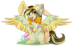 Size: 1802x1138 | Tagged: animal costume, artist:monogy, bunny costume, clothes, costume, female, mare, oc, oc:akane, pegasus, pony, safe, simple background, solo, transparent background, two toned wings