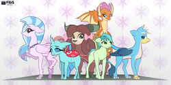 Size: 2650x1325 | Tagged: artist:fibs, bow, changedling, changeling, classical hippogriff, cloven hooves, colored hooves, dragon, dragoness, earth pony, female, gallus, griffon, hair bow, hippogriff, jewelry, male, monkey swings, necklace, ocellus, pony, safe, sandbar, silverstream, smolder, student six, teenager, vector, yak, yona