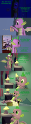 Size: 1920x7560 | Tagged: safe, artist:papadragon69, rarity, spike, dragon, comic:spike's cyosa, 3d, bed, blanket, choose your own adventure, comic, lamp, male, older, older spike, painting, source filmmaker, spike's room, teenage spike, teenager, too big, winged spike