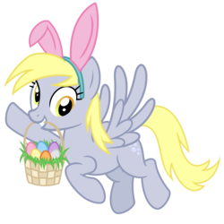 Size: 3000x3000 | Tagged: safe, artist:cheezedoodle96, derpy hooves, pegasus, pony, .svg available, basket, bunny ears, cute, derpabetes, easter, easter basket, easter egg, female, flying, grass, holiday, looking at you, mare, mouth hold, simple background, solo, svg, transparent background, vector, waving