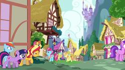 Size: 1920x1080 | Tagged: safe, screencap, amethyst star, cultivar, cup cake, junebug, rainbow dash, sci-twi, sparkler, sunset shimmer, sunshower raindrops, twilight sparkle, warm front, unicorn, equestria girls, equestria girls series, spring breakdown, spoiler:eqg series (season 2), canterlot castle, equestria girls ponified, ponyville, unicorn sci-twi