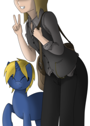 Size: 2454x3423 | Tagged: safe, artist:darkhooves, derpibooru exclusive, oc, oc only, oc:cerulean light, oc:denise lantz, human, pony, unicorn, blonde, blonde hair, blonde mane, clothes, dress pants, eyes closed, female, high res, human and pony, leaning forward, mailbag, mare, peace sign, raised hoof, ripped sleeves, rolled up sleeves, satchel, shading, shading practice, shirt, short hair, short mane, simple background, smiling, transparent background, unbuttoned, vector, vest