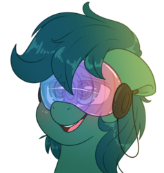 Size: 2000x2100 | Tagged: safe, artist:fluffyxai, oc, oc only, oc:poison trail, pony, blushing, bust, commission, hypnogear, hypnosis, open mouth, portrait, simple background, smiling, solo, transparent background, visor