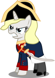 Size: 5777x8119 | Tagged: safe, artist:atomicmillennial, oc, oc:prinzessin helga kathrin von marebrucht-trotzschloss, pony, unicorn, absurd resolution, angry, clothes, female, hat, mare, prussia, saber, simple background, sword, transparent background, uniform, vector, weapon