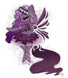 Size: 763x872 | Tagged: artist:du-sk, ballerina, ballet slippers, bipedal, clothes, cute, eyes closed, female, oc, ocbetes, oc:sugarplum fairy, original species, pony, safe, solo, solutai pony, tutu