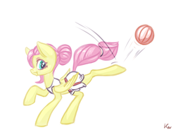 Size: 1800x1377 | Tagged: safe, artist:kovoranu, fluttershy, pegasus, pony, ball, clothes, kicking, solo