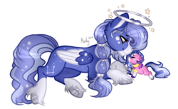 Size: 859x524 | Tagged: artist:mintoria, baby, baby pony, base used, circling stars, father and daughter, female, halo, male, oc, oc:moonbeam, oc only, oc:reverie wish, pegasus, pony, safe, simple background, stallion, transparent background