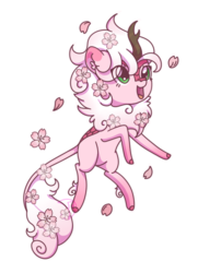 Size: 519x716 | Tagged: artist:musicfirewind, cute, ear fluff, eye clipping through hair, female, kirin, kirin oc, leonine tail, oc, ocbetes, oc only, open mouth, safe, sakura petals, simple background, solo, transparent background