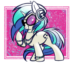 Size: 544x463 | Tagged: abstract background, artist:ponycide, bracelet, cute, dj pon-3, female, headphones, jewelry, light shading, mare, necklace, pony, safe, smiling, smirk, solo, unicorn, vinylbetes, vinyl scratch, vinyl's glasses